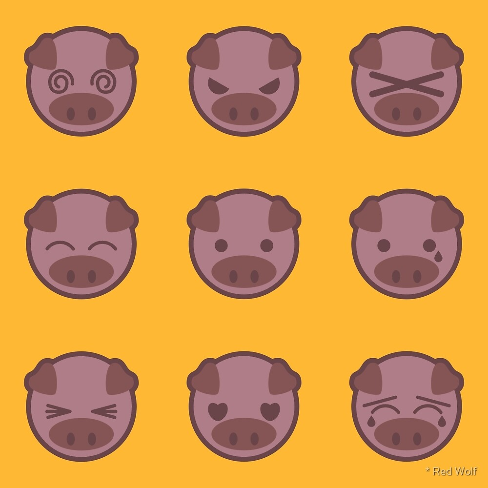 Pig Emoji: Brown/Yellow by * Red Wolf
