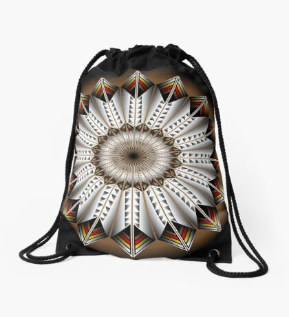 Native Feather Design Drawstring Bag