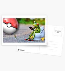 T-Shirt Frog in Toilet and Pokeball Funny Postcards