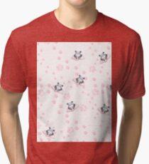 Blush pink black white panda animal paw's pattern Tri-blend T-Shirt
