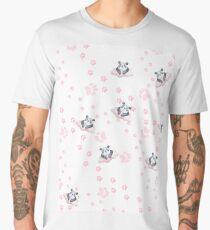 Blush pink black white panda animal paw's pattern Men's Premium T-Shirt