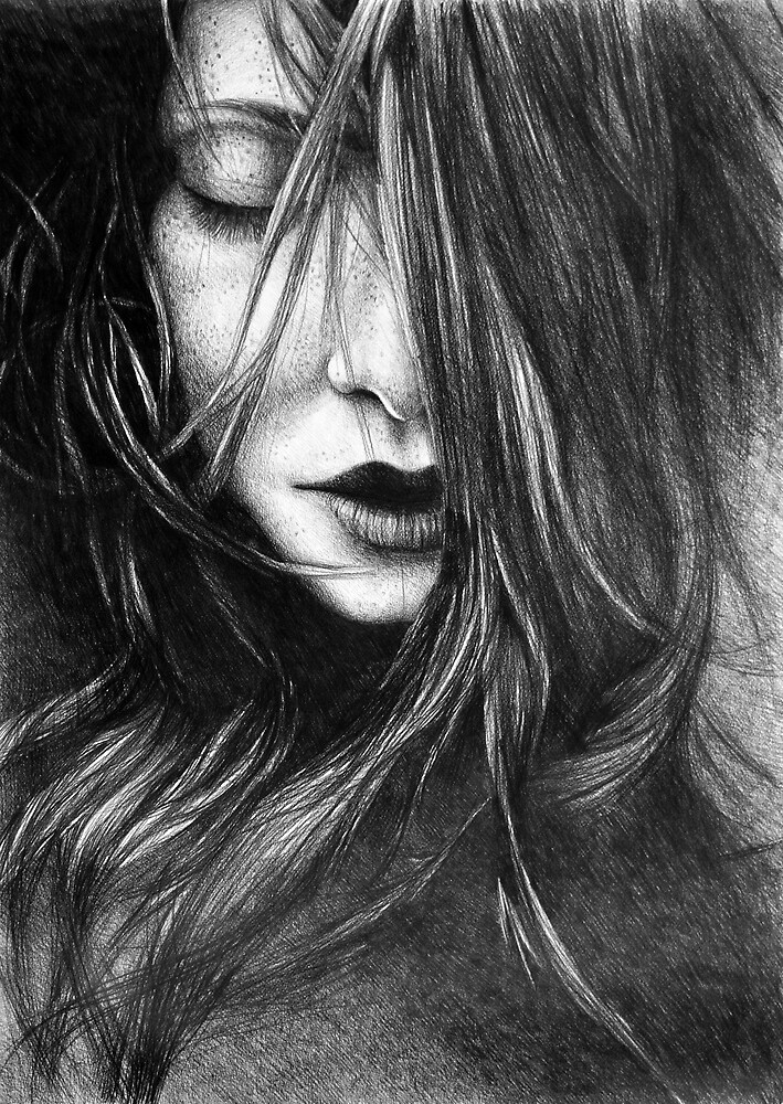 Like A Storm, 2017, 50-70 cm, graphite crayon on paper by oanaunciuleanu