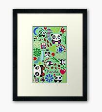 Kids Pandas, Butterflies and Owl Framed Art Print