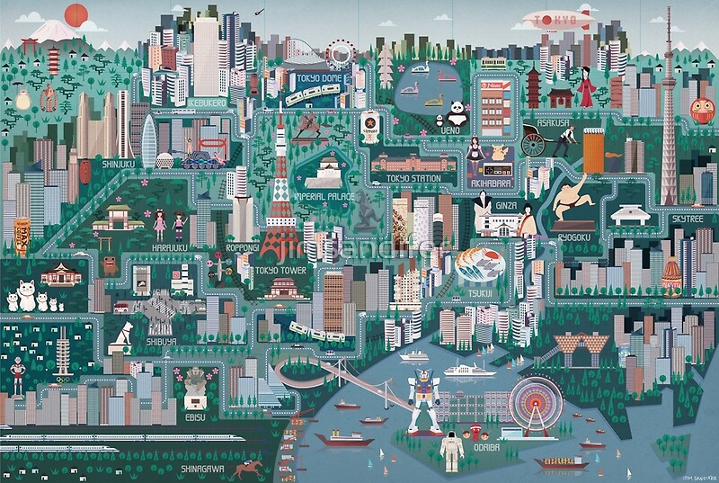 Tokyo Illustrated Map Art Prints by jimsandifer Redbubble