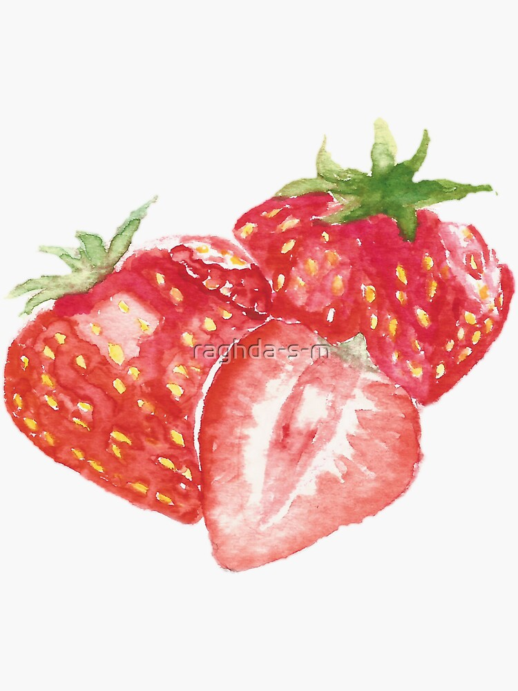 strawberry watercolor painting by raghda-s-m