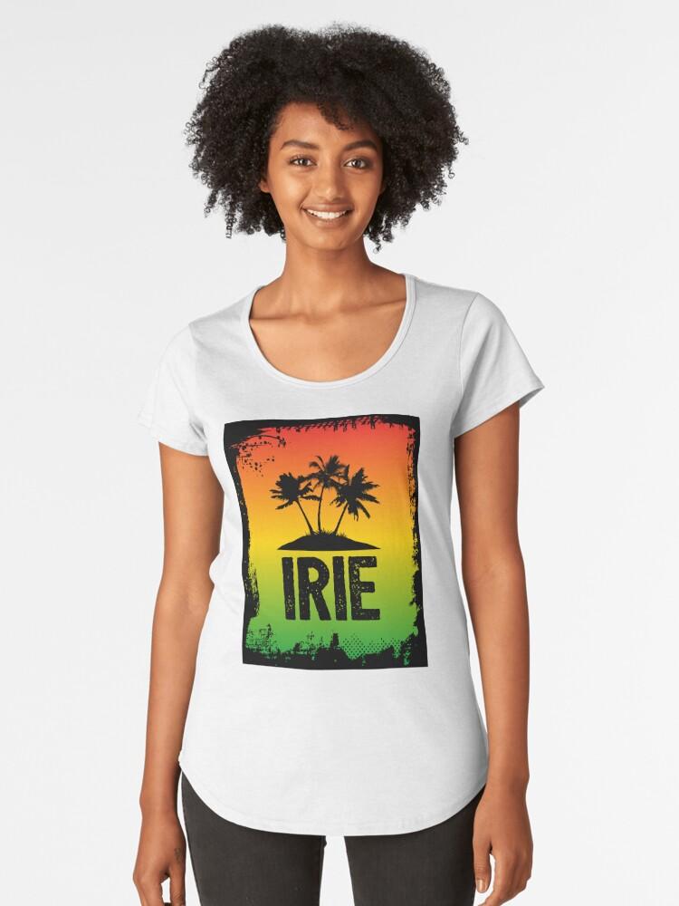 Irie jamaican patwa slang rasta friendly greeting graphic print irie jamaican patwa slang rasta friendly greeting graphic print womens premium t shirt by hothibiscus redbubble m4hsunfo