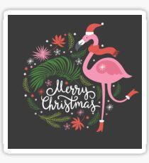 Christmas Illustration with Flamingo Sticker