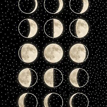 glänzende Mondphasen auf Schwarz / mit Sternen von MartaOlgaKlara