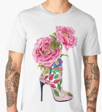 Flowers High Heel Boots | Fashion Men's Premium T-Shirt