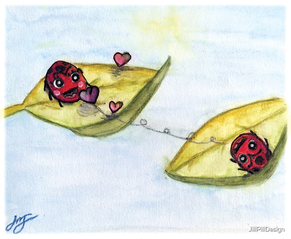 Ladybug Lovers - Watercolor by JillPillDesign