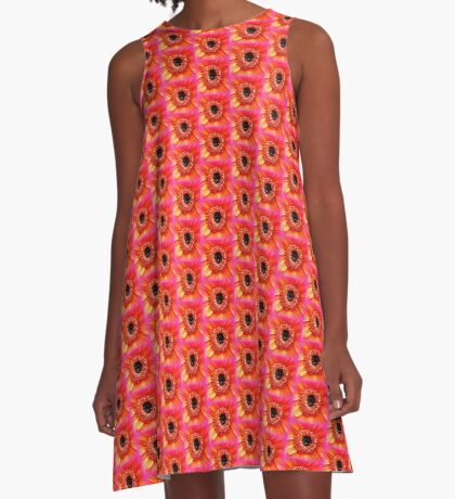 Gerbera in orange and pink A-Line Dress