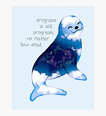 """Progress is Still Progress"" Galaxy Seal Photographic Print"