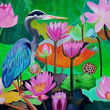 Colourful Blue Heron Bird by IvysCraftShop