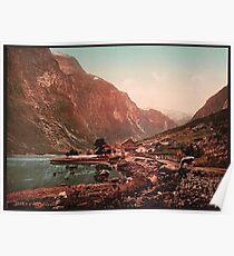 A vintage photograph of a mountain range  Poster