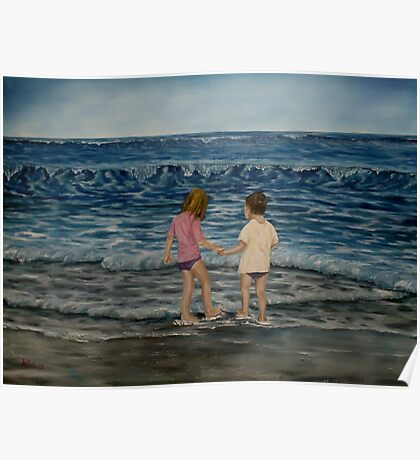 """Beach Kids"" - Oil Painting Poster"