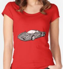 Sports car mandala art Women's Fitted Scoop T-Shirt