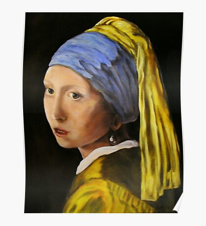 """Pearl Earring with Girl Attached"" - oil painting (inspired by Vermeer) Poster"
