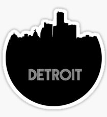 Detroit Skyline Circle Sticker
