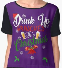 Funny Drink Up Grinches It's Christmas Designs For Beer Lovers Women's Chiffon Top