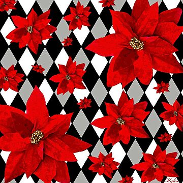 Poinsettia Red and Harlequin Pattern by Overthetopsm