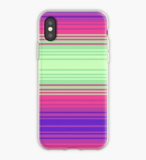 Green Pink and Purple Gradient Stripes iPhone Case