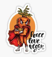 The Angry Carrot / Foodietoon SuperHero / Peace Love Vegan Sticker