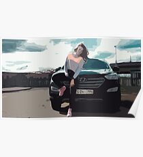 Young Woman Leaning on a Black SUV Car Poster