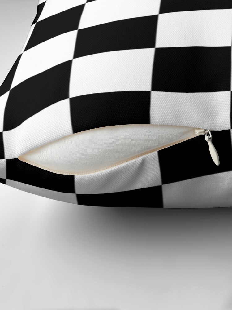Alternate view of Checkered Flag, Chequered Flag, Motor Sport, Checkerboard, Pattern, WIN, WINNER,  Racing Cars, Race, Finish line, BLACK Throw Pillow