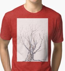 Little DNA Tree, Hand drawn ink on paper ACEO Tri-blend T-Shirt