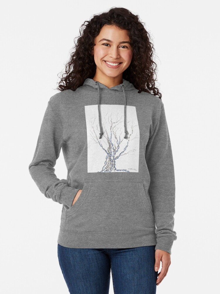Alternate view of Little DNA Tree, Hand drawn ink on paper ACEO Lightweight Hoodie
