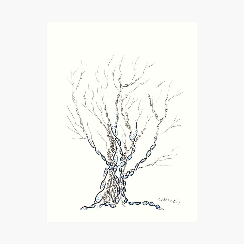 Kleiner DNA-Baum, Hand gezeichnete Tinte auf Papier ACEO Kunstdruck