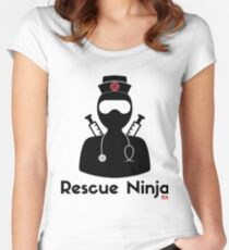 6d0efb19a00 Rescue Ninja - Funny Registered Nurse Fitted Scoop T-Shirt