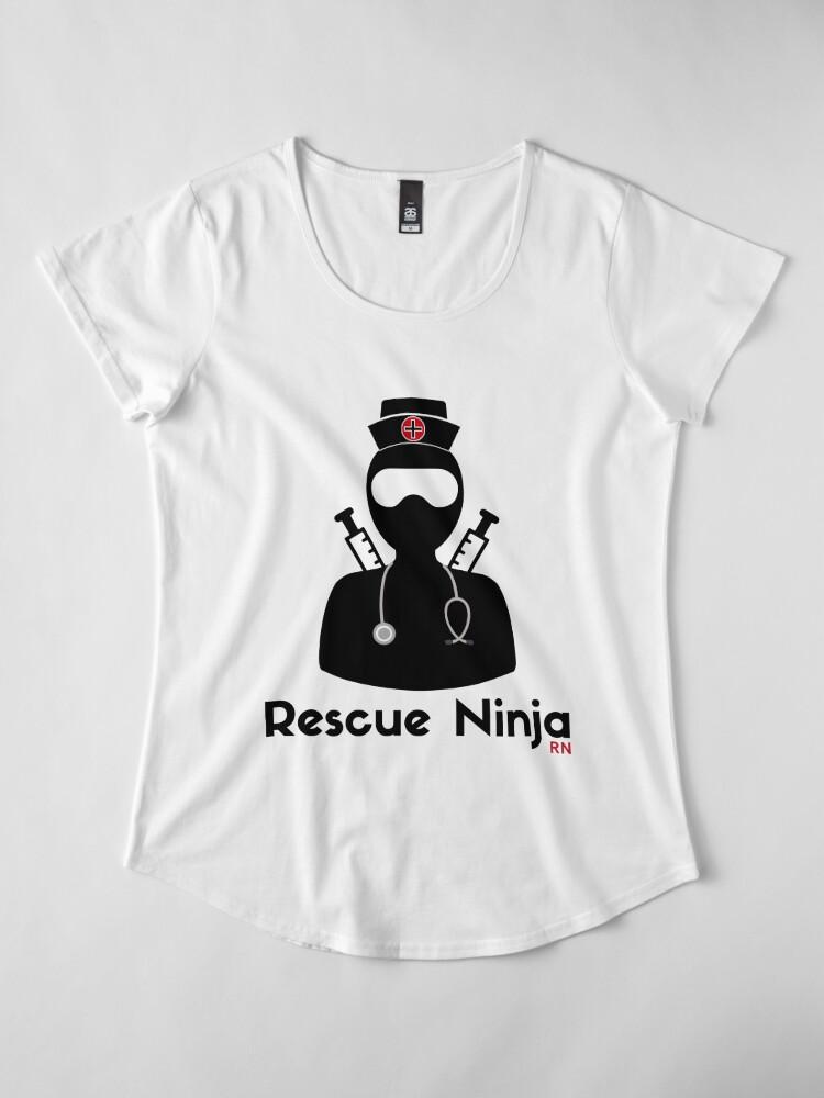 82386b40c5a3d Rescue Ninja - Funny Registered Nurse Women's Premium T-Shirt Front.  product-preview. product-preview. product-preview