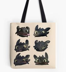 Toothless Faces Tote Bag