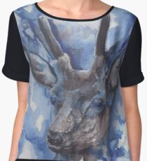 A Red Stag Deer in Winter Women's Chiffon Top