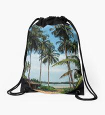 Tropical Island Beach Paradise Drawstring Bag