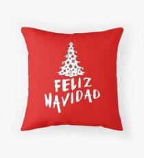 Feliz Navidad with Tree Throw Pillow