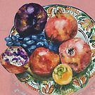 Still life - Some pomegranates, persimmons, pears, grapes on the plate by Dmitri Matkovsky