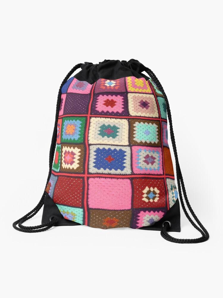 Fun Folksy Crochet Drawstring Bag By Anteaterdesign Redbubble