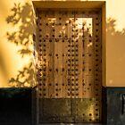 Soft Golden Shadows - Antique Door Fortified with Brass Studs Seville Spain by Georgia Mizuleva