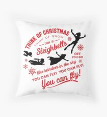 Think of Christmas Peter Pan inspired Throw Pillow
