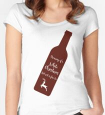 Christmas Wine White Christmas Women's Fitted Scoop T-Shirt