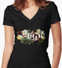 SSDGM Murderino Flower Illustration My Favorite Murder Women's Fitted V-Neck T-Shirt