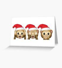 Christmas Monkey Emojis Greeting Card