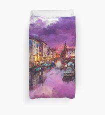 Twilight On Venice Canal Duvet Cover