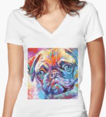Pug in vibrant colours Women's Fitted V-Neck T-Shirt