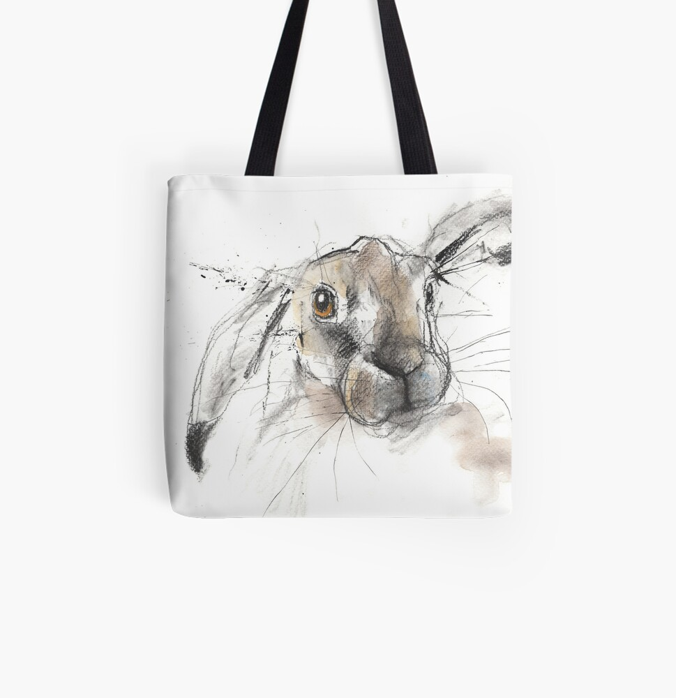 Charcoal Hare All Over Print Tote Bag