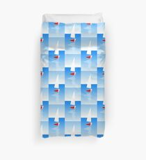 Boat on Calm Blue Sea - Red Boat Duvet Cover