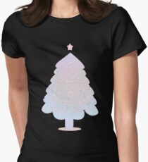 White Christmas Tree Decorated Stained Glass Women's Fitted T-Shirt
