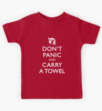 Don't Panic and Carry a Towel Kids Tee